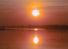 Ciel Assouan Soleil couchant sur le lac Nasser