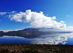 Lac d'altitude avec volcan