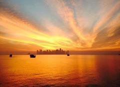 Ciel Doha Coucher de soleil sur Doha