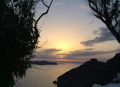 Mer Santorin Coucher de soleil