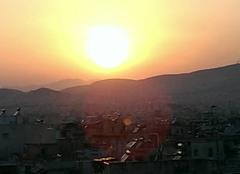 Ciel Athènes Athènes, le soir vu d'une terrasse