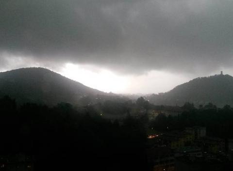 Heavy rain on the town