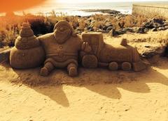 Un bonhomme de neige en sable aux Canaries