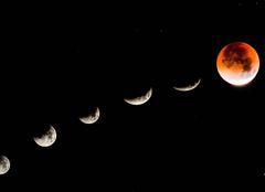 Montage de l'éclipse lunaire à la lune de sang