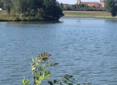 Climat Saramon 32450 L'église vue du lac