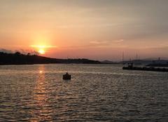 Coucher de soleil sur le port de Porquetolles