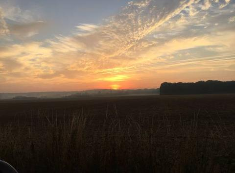 Lever de soleil sur la campagne
