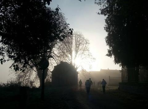 9h00 depart entraînement sous le brouillard