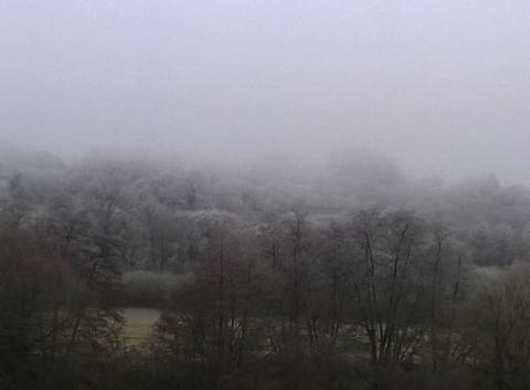Du brouillard givrant en Alsace.