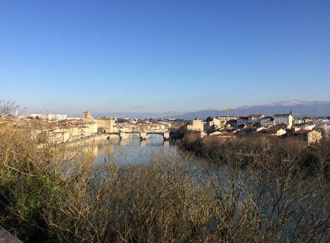 Panoramique de  l'Isère entre Romans et Bourg-de-Péage