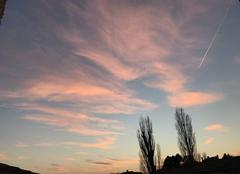 18h00 Ciel bleu nuages roses -1 degré
