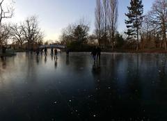Le lac des Ibis gelé