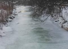 Rivière la vologne totalement pris dans la glace