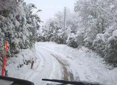 Route enneigée sur le Causse de Blandas