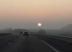 Ciel Veigne 37250 Lever du soleil sur l'A10