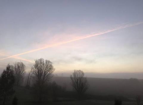 7h40 Ciel coloré, Brouillard, 3 degrés