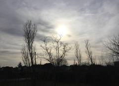 Soleil couchant,  sous vent du sud