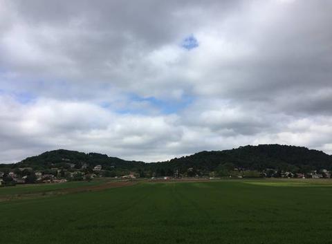 Campagne verdoyante sous ciel gris