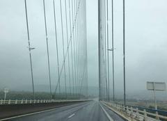 Pluie Honfleur 14600 Le pont de Normandie