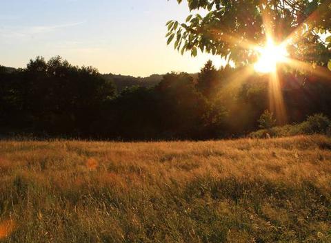 Coucher de soleil sur la ferme des cabanes attrape-rêves