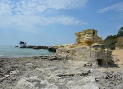 Mer Meschers-sur-Gironde 17132 Rocher et carrelet sur la plage de Suzac