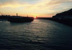 Mer Fecamp 76400 Coucher de soleil sur le port de Fécamp