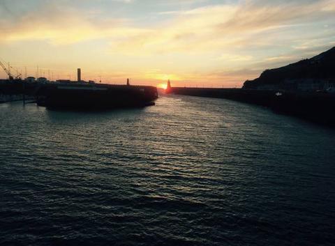 Coucher de soleil sur le port de Fécamp