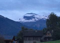 Neige Morillon 74440 Première neige de septembre sur le Grenairon depuis Morillon