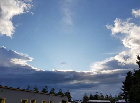 Ciel bleu et nuages noirs
