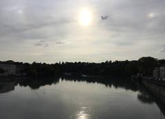 Ciel Romans-sur-Isere 26100 Soleil couchant sur ciel voilé
