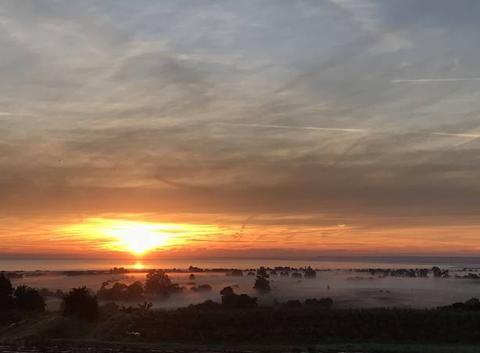 Brume sur le marais et lever soleil...