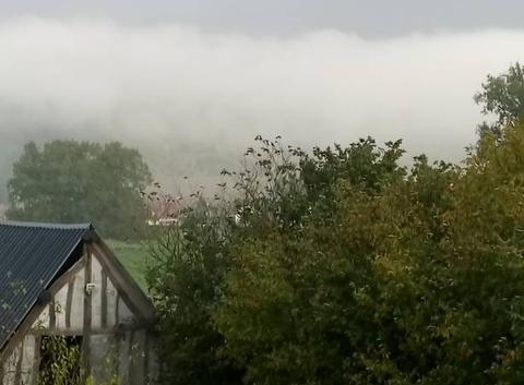Nuage bas dans la vallée après la pluie