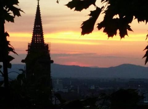Coucher de soleil sur Freiburg