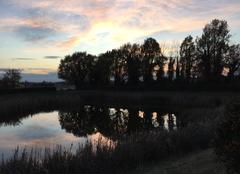 Ciel Mours-Saint-Eusebe 26540 Soleil couchant sur ciel voilé