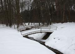 Neige Przemysl Petit pont enneigé en Pologne