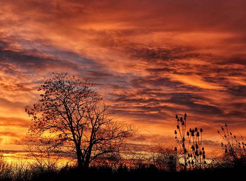 Lever de soleil à Auxerre ce matin