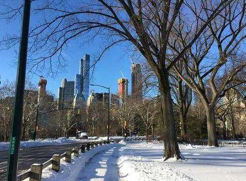Central Park habillé de blanc