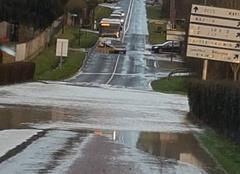 Pluie Boissy-le-Chatel 77169 Route inondée entre Coulommiers et Boissy le Chatel