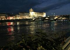 Insolite Bourg-de-Peage 26300 L'Isère en crue de nuit