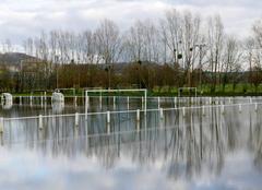 Pluie Saint-Vaast-d'Equiqueville 76510 Terrain de sport inondé, Saint-Vaast-d?Equiqueville, janvier 2018