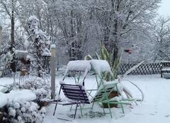 Neige Cour-Cheverny 41700 Le repos du jardin sous la neige