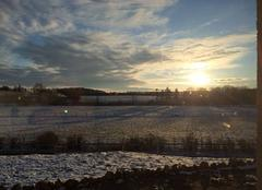 Neige Gouville 27240 Coucher de soleil sur la plaine enneigée