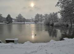 Neige Saran 45770 Saran  étang du chateaux