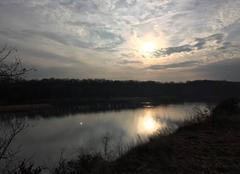 Ciel Romans-sur-Isere 26100 Soleil voilé au couchant sur l´Isère «sauvage»