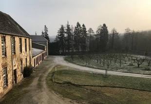 Ciel Soligny-la-Trappe 61380 Lever de soleil et gelée blanche sur la vieille Trappe et sur la forêt de Perche-Trappe