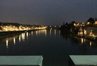 Froid Romans-sur-Isere 26100 Les quais de nuit dans le froid glacial