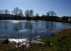 Froid Arleuf 58430 étang d'Arleuf entre eau et glace