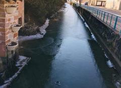 Froid Pont-de-Veyle 01290 La Veyle gelée, Pont de Veyle 01 à 10h00 (-6 degrés)
