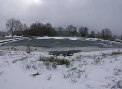 Vent Arleuf 58430 Graphisme éphémère  du vent et du froid sur l'étang