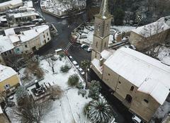 Neige Salles-d'Aude 11110 Le jardin public sous la neige